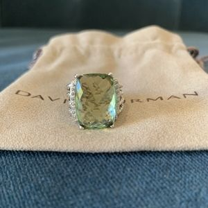 David Yurman Wheaton Ring Prasiolite Diamonds 5.25